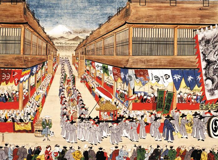 에도(현재의 도쿄)거리를 가득 메운 일본인들이 조선통신사 일행의 방문을 환영하고 있다.