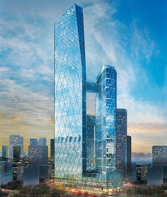 쌍용건설이 지난 8월 말 말레이시아에서 수주한 높이 339m의 초고층 복합건물'옥슬리 타워'의 완공 후 예상 모습.
