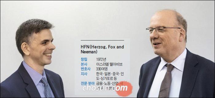 이스라엘 최대 법무법인인 '헤어조그, 폭스 앤드 니먼'의 메이르 린젠(오른쪽) 대표 변호사가 길라드 마예로비츠 한국 법인 대표 변호사와 이스라엘 스타트업 창업 열기에 대해 얘기하고 있다. /김지호 기자