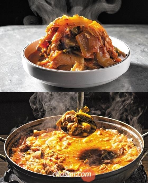 돼지고기가 잔뜩 들어가 끓일수록 맛이 진해지는 보건옥의 김치찌개. 찬 바람 불기 시작한 요즘 딱 좋다.