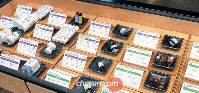 올해 1월 대마초가 합법화된 캘리포니아주 새너제이의 대마초 전문 판매점 진열대.