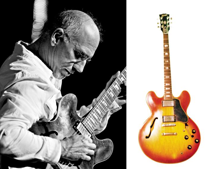 데뷔 50주년을 맞은 재즈 기타리스트 래리 칼튼과 그를 상징하는 애장 기타 '깁슨 ES 335'.