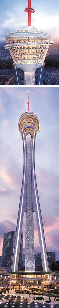 자광건설이 전주시 완산구 대한방직 부지에 지으려는 높이 430m '익스트림 타워' 조감도.