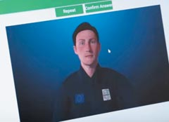 EU(유럽연합)가 도입하는 국경 검문용 AI(인공지능)' 아이보더컨트롤'을 시연한 모습.