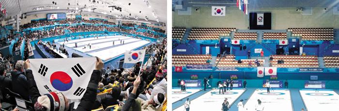 발 디딜 틈 없었는데… 텅 빈 경기장 - 지난 2월 평창 동계올림픽 당시 컬링 경기가 열렸던 강릉컬링센터(왼쪽 사진). 아·태선수권 한·일전이 열린 8일 강릉 컬링센터의 썰렁한 모습(오른쪽 사진).