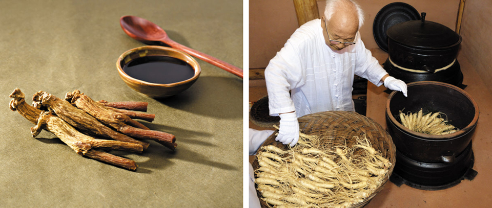 전통 방식으로 만든 홍삼과 홍삼 엑기스. 오른쪽은 송화수 홍삼 명인이 가마솥에 인삼을 찌는 모습.
