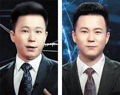 중국 신화통신이 지난 8일 공개한 인공지능(AI) 합성 앵커(오른쪽)의 모습. 왼쪽이 실제 앵커인 추 하오씨다.