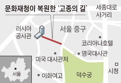 문화재청이 복원한 고종의 길 지도
