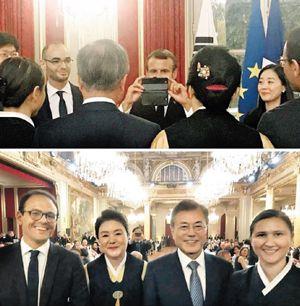 사진 찍어주는 마크롱 대통령(위). 왼쪽부터 세드리크 오, 김정숙 여사, 문 대통령, 델핀 오(아래).