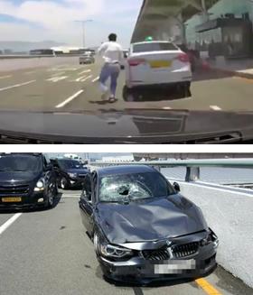 지난 7월 부산 김해공항 국제선 출국장 게이트 앞에서 짐을 내려주던 택시 기사가 가해 차량인 BMW에 들이받히기 직전의 모습(윗 사진). 아래 사진은 사고 이후 파손된 BMW 차량이다.