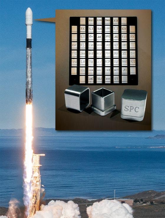 유골을 담은 우주장 위성을 실은 로켓이 4일 미 캘리포니아에서 발사되고 있다.