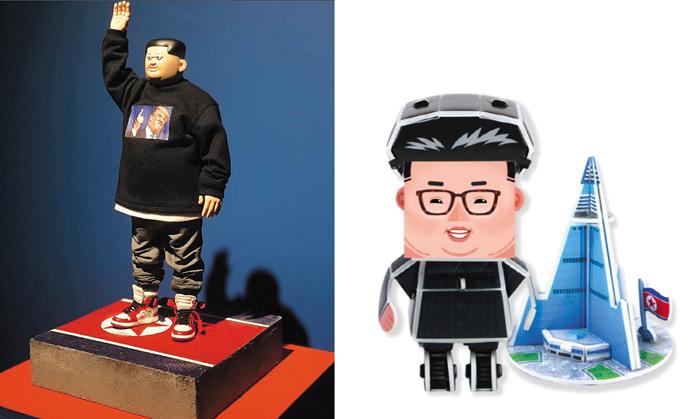미술 전시 '북조선 판타지'에 전시된 김정은 피겨(왼쪽). 오른쪽은 EBS미디어가 내놨다가 논란이 일자 판매를 중단한 김정은 종이 인형.
