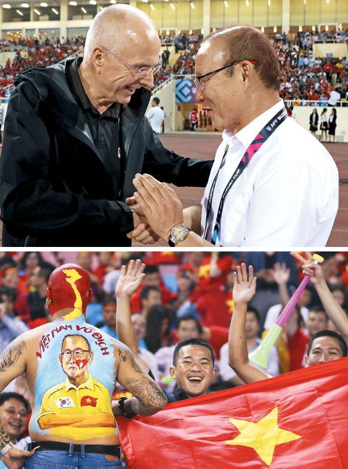 킥오프를 앞두고 인사를 나누는 박항서(오른쪽) 베트남 감독과 스벤 예란 에릭손 필리핀 감독.