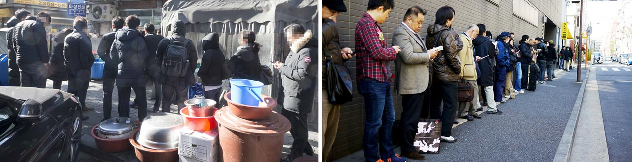 8일 서울 중구 을지로의 순대 맛집에 들어가려는 손님들이 보행로를 점령하고 대기하고 있다(왼쪽).