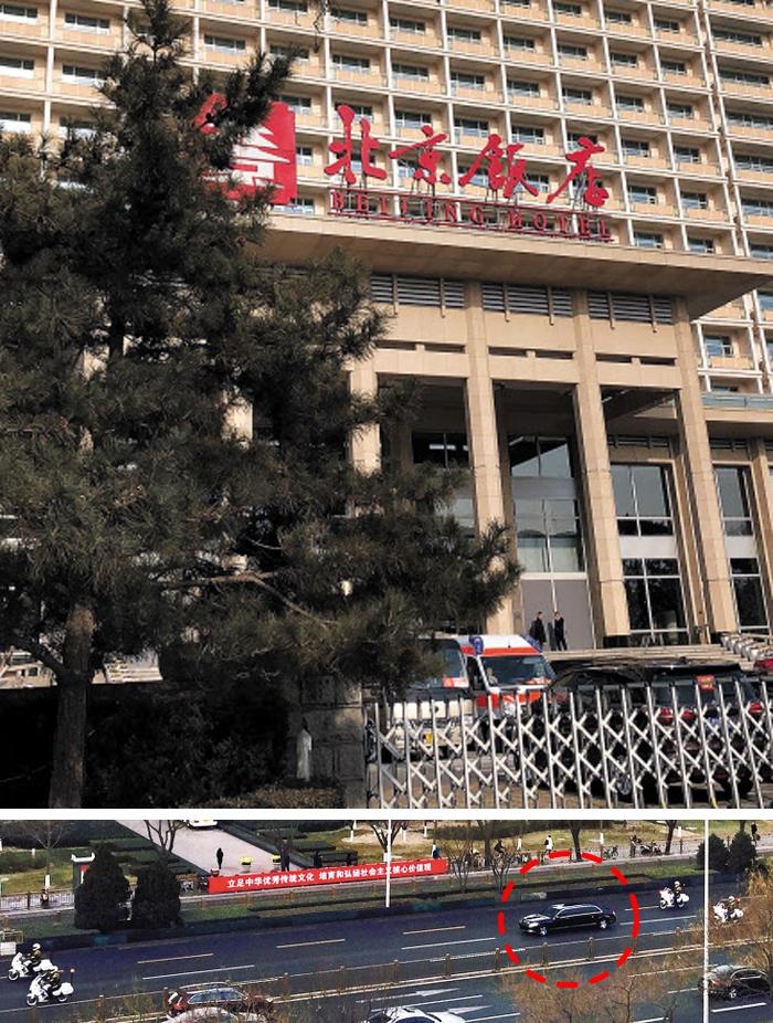 오찬 장소 '북경반점' 앞엔 구급차 대기 - 9일 시진핑 중국 국가주석과 김정은 북한 국무위원장이 오찬을 함께 한 베이징 유명 호텔 베이징반점의 철문이 닫혀 있고 건물 앞에 구급차가 대기하고 있다(위 사진). 앞서 이날 오전 김 위원장 등 방중단 일행을 태운 전용차(붉은 점선)가 베이징 댜오위타이에서 출발해 도로를 달리고 있다(아래 사진).