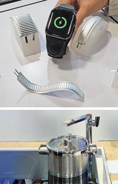(위 사진)자유자재로 모양 바꿀 수 있는 배터리 (아래 사진)전기레인지에 정수기 장착
