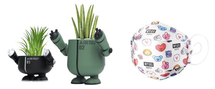'공기정화특공대'와 캐릭터 'BT21'을 넣은 마스크