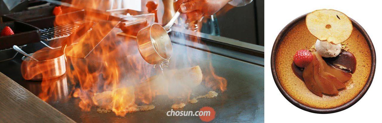 철판 위 술을 붓고 불을 붙여 배를 굽는다.