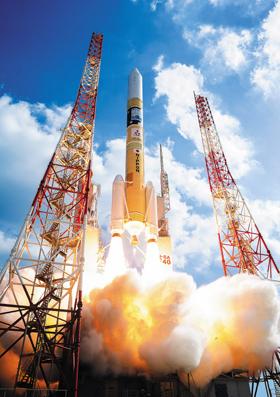 다네가시마 일본 우주항공연구개발기구(JAXA)의 우주선 발사장면.