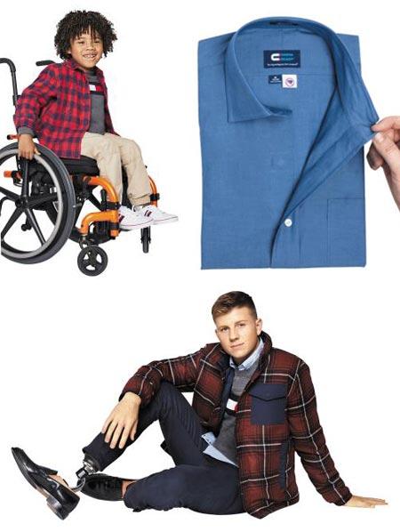 휠체어를 타는 아이가 입고 벗기 편하게 셔츠와 바지가 자석 여밈으로 돼 있는 타미힐피거 아동 의류(위 왼쪽).