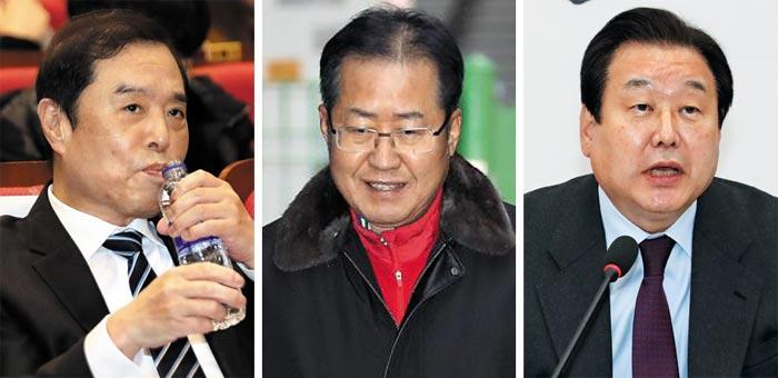왼쪽부터 김병준 비대위원장, 홍준표 전 대표, 김무성 의원