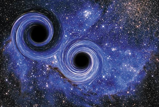 두 블랙홀이 합쳐지면서 중력파를 만드는 순간을 나타낸 이미지.