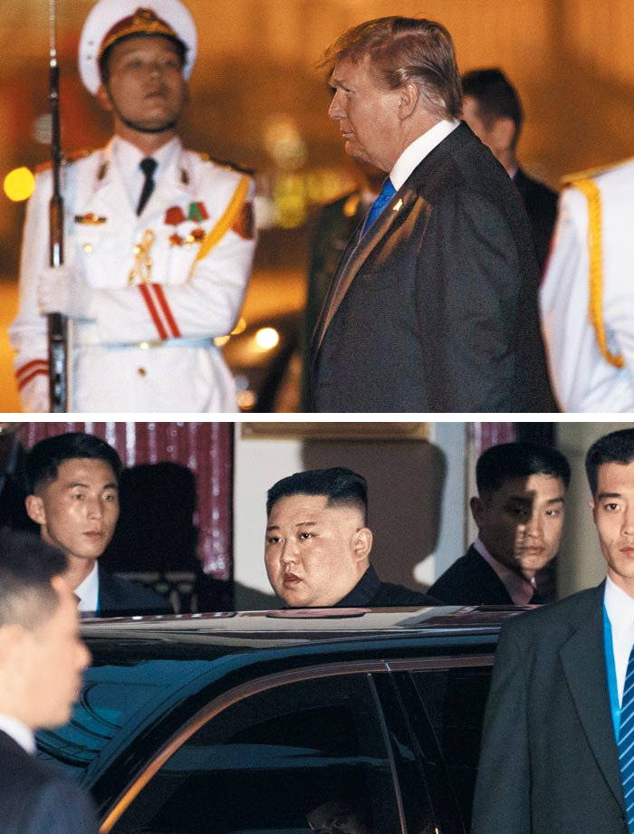 하노이에 도착한 트럼프… 베트남 北대사관 방문한 김정은
