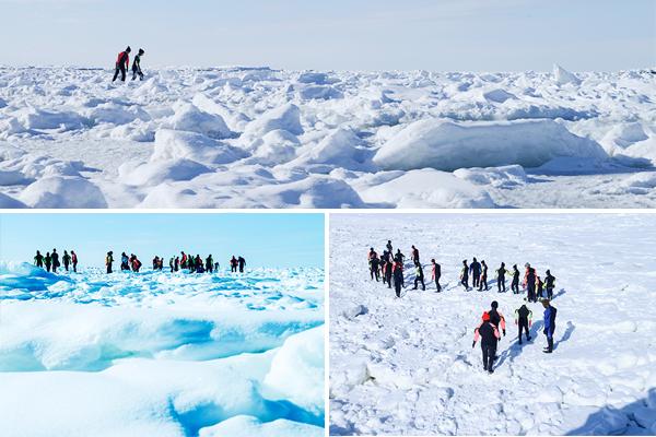 각국에서 모여든 유빙워크 참가자들은 마치 새끼 펭귄들이 어미 펭귄을 쫓아가듯 가이드를 따라 일렬로 걷는다. 행여 빠질까 조심스럽게 한 발 한 발을 내디딘다.