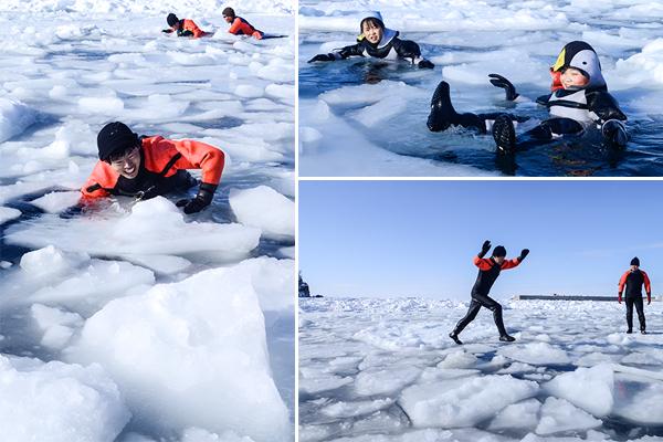 유빙워크 체험의 중반부를 넘어가자 유빙 위를 걷기보다는 빠지는 것을 즐기는 참가자들이 더 많아진다.