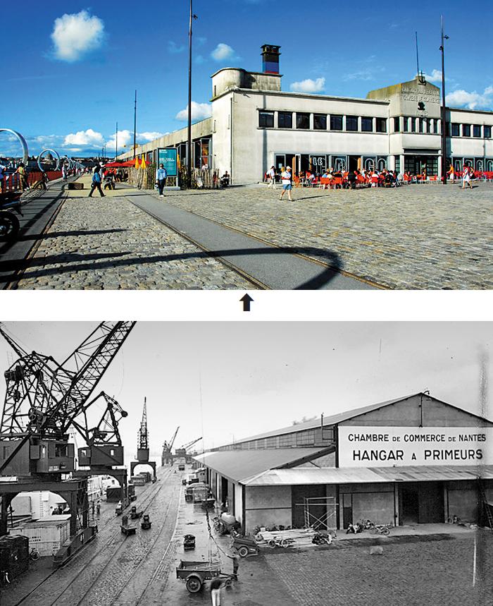 낭트의 앙가르 아 바난은 카페와 레스토랑, 클럽, 갤러리가 들어선 낭트의 명소로 시민·관광객의 발길이 끊이지 않는다(위). 이곳은 과거 코트디부아르에서 실어온 바나나를 익히던 창고로 쓰였다(아래).