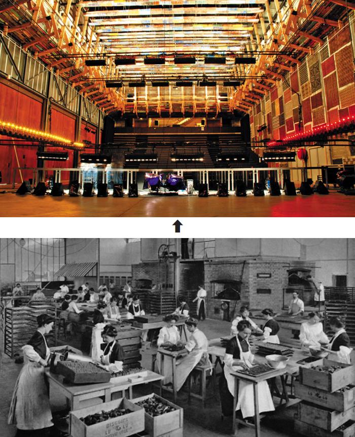 낭트의 국립현대예술센터 '르리외 유니크(LU)'의 공연장 내부(위 사진). 이곳은 프랑스 유명 비스킷 회사 LU가 운영하던 과자 공장이다. 아래 사진은 1900년대 초 LU 공장에서 일하는 여성 직원들의 모습이다.