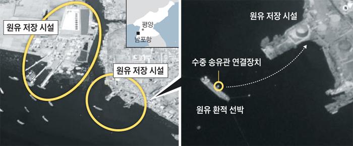 북한 남포항 인근에 해상 유류 환적을 한 것으로 추정되는 선박들이 몰려 있다(왼쪽 사진). 이 선박들은 '수중 송유관'을 통해 남포항으로 유류를 옮겼다고 유엔은 밝혔다(오른쪽 사진).