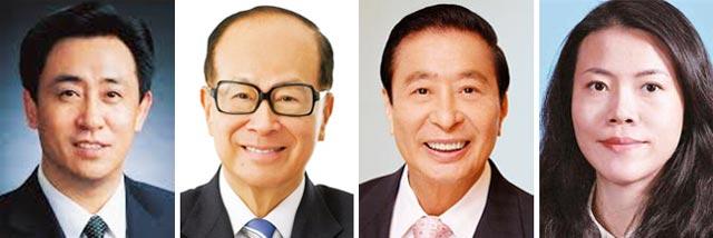 (왼쪽부터)쉬자인, 리카싱, 리자오지, 양후이옌
