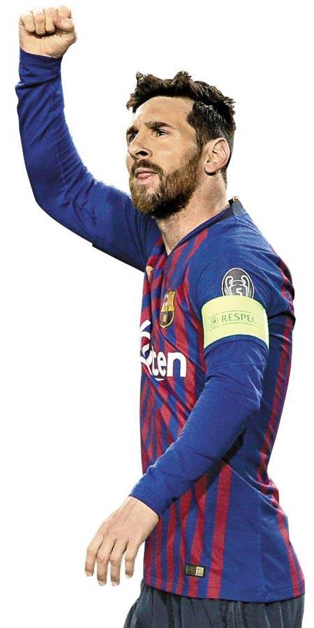 리오넬 메시가 14일 리옹과의 UEFA 챔피언스리그 16강 2차전에서 골을 넣고 오른 주먹을 불끈 쥐며 기뻐하는 모습.
