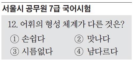지난 2월 서울시 7급 공무원 필기시험에 출제된 A형 12번(B형 14번) 문제.