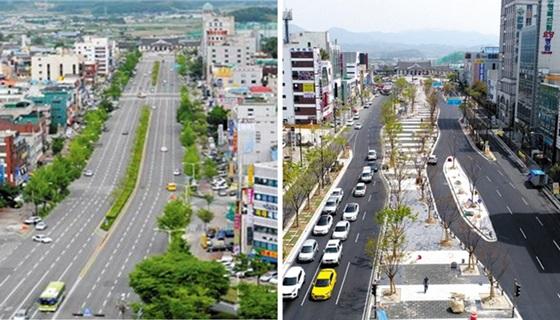 전주역 앞 '첫마중길' 조성 전(왼쪽)과 현재 모습.