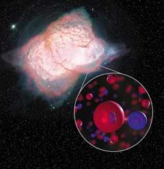지구에서 3000광년 떨어진 백조자리에 있는 성운 NGC 7027에서 관측한 수소화헬륨(별도 원으로 확대)의 모습.
