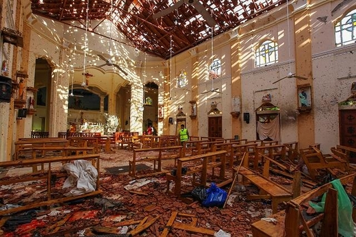 2019년 4월 21일 스리랑카 네곰보 성 세바스티안 교회에서 폭발 사고가 발생했다. /UPI 연합뉴스
