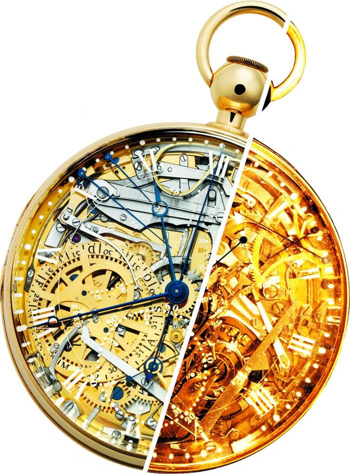 2005년 니콜라스 하예에크 당시 브레게 회장의 복원 프로젝트로 3년만에 완성한 마리 앙투아네트 시계(원의 왼쪽)와 1783년 앙투아네트가 브레게에게 의뢰한 시계(원의 오른쪽).