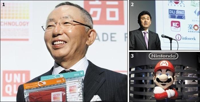 1 야나이 다다시 유니클로 회장과 2 미키타니 히로시 라쿠텐 회장은 '헤이세이 불황'을 돌파한 대표적인 일본 경영인으로 꼽힌다. 3은 부침 속에서도 위기 때마다 히트 상품을 내놓은 닌텐도의 대표 캐릭터인 슈퍼 마리오. /블룸버그