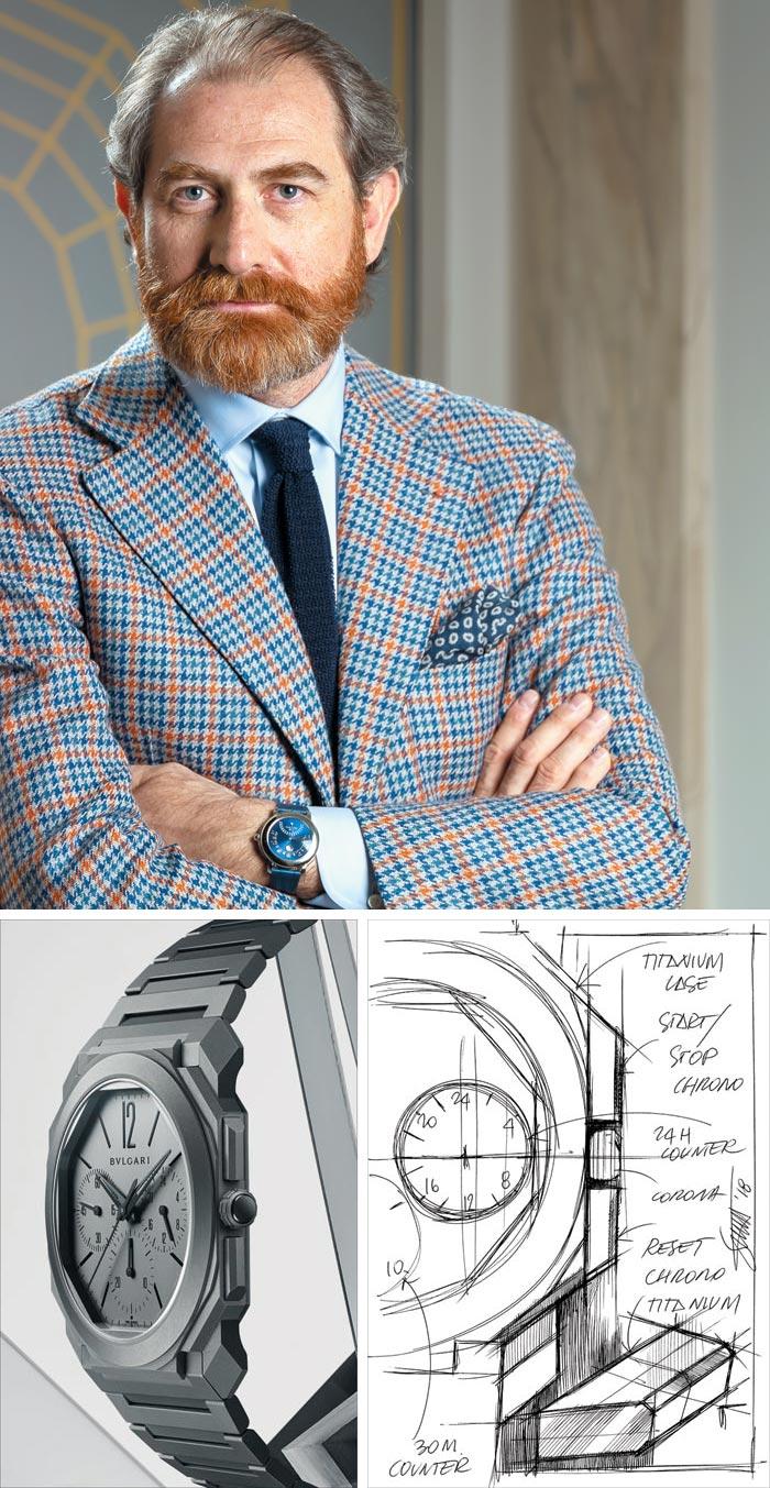 불가리 시계 총괄 디자이너 스틸리오니(위)가 만들어 기네스에 올린 '옥토 피니씨모'(아래 왼쪽)와 스케치(아래 오른쪽).