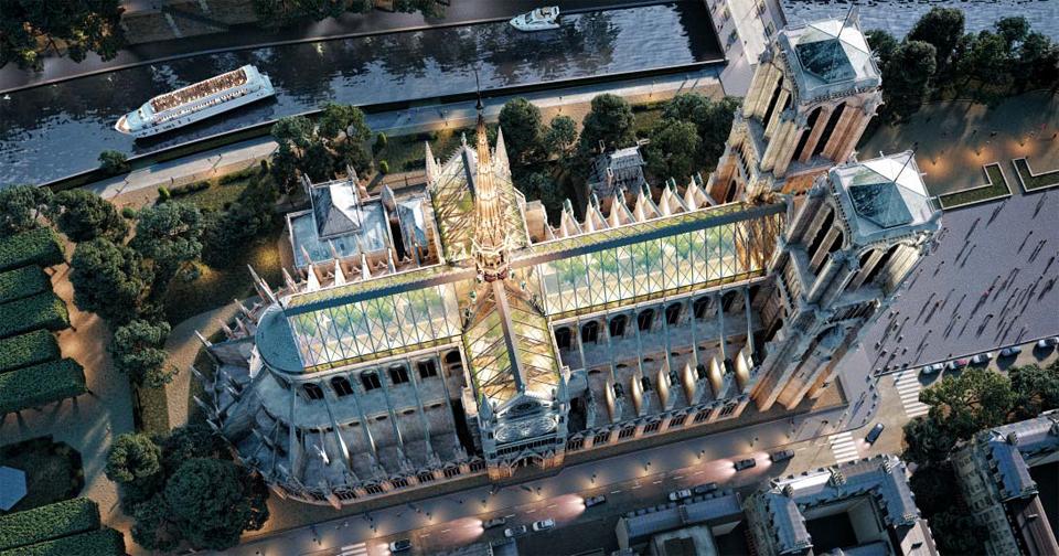 벨기에의 3D 그래픽 회사 'Miysis Studio 3D'에서 공개한 노트르담 대성당의 재건 상상도. 첨탑은 화재 이전 모습으로 복원하고 유리 지붕은 예전 실루엣을 따라 만든다는 아이디어다. 지붕 아래는 전망대를 겸한 정원이다.