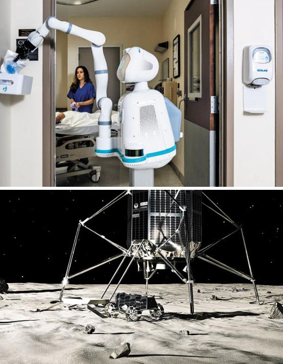 15일 서울 신라호텔에서 열린 제10회 아시안리더십콘퍼런스(ALC) '테크 페스트'에서 소개된 딜리전트 로보틱스의 로봇간호사 목시(Moxi)가 한 병원에서 큰 팔을 이용해 병실 입구의 수납함에 의료용 비품을 채우고 있다(위 사진). 이날 ALC에서는 일본 아이스페이스의 소형 우주 탐사 로봇 '로버'(아래 사진)도 등장했다.