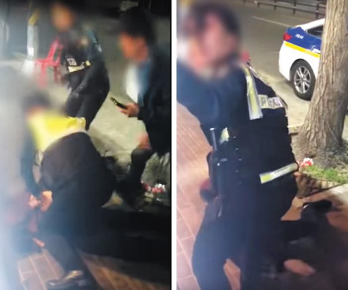 """지난 13일 서울 구로구 구로동의 술집 앞에서 남성 경찰관이 허모(53)씨를 제압하고 있다(왼쪽 사진). 이후 허씨 일행인 장모(41)씨가 남성 경찰관에게 달려들었고, 여성 경찰관이 대신 허씨를 제압했다. 오른쪽 사진은 여경이 이 과정에서 옆에 있던 시민에게 """"남자분 나오시라""""며 도움을 요청하는 장면."""