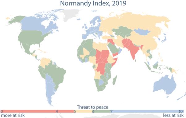 2019년 6월 5일 유럽의회조사처(EPRS) 웹사이트에 공개된 노르망디 지수(Normandy Index) 지도. 빨간색으로 표시된 국가는 평화를 위협받을 위험이 크다는 의미다. 파란색은 위험이 작다는 의미다. /EPRS