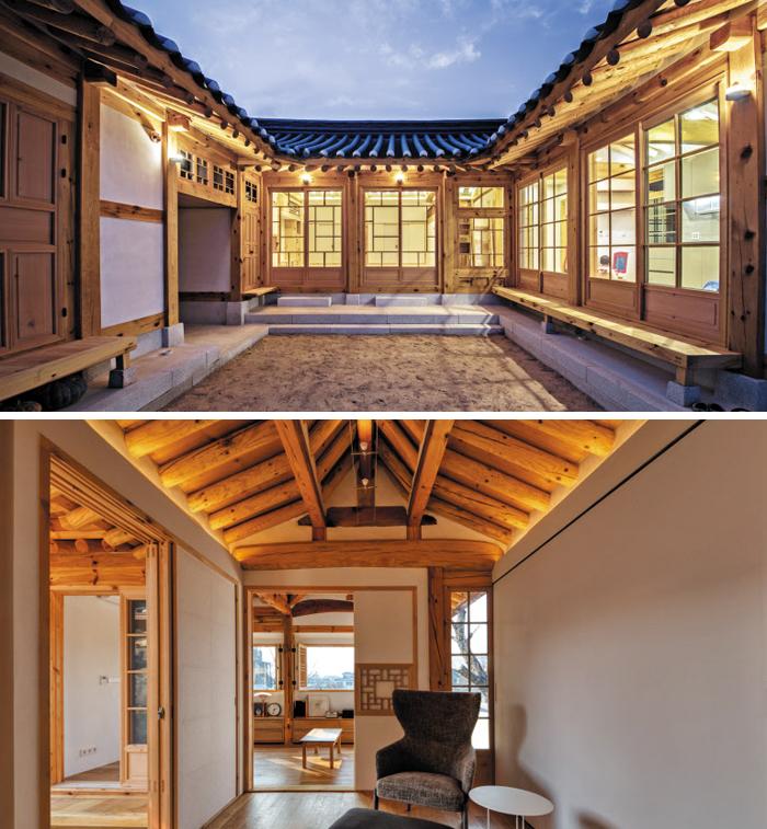 다니엘 텐들러가 설계한 서울 한옥들. 은평 한옥(위)은 대청·부엌이 마당으로 트여 있고, 계동 한옥은 창 밖 멀리까지 시야가 펼쳐져 널찍하게 느껴진다.