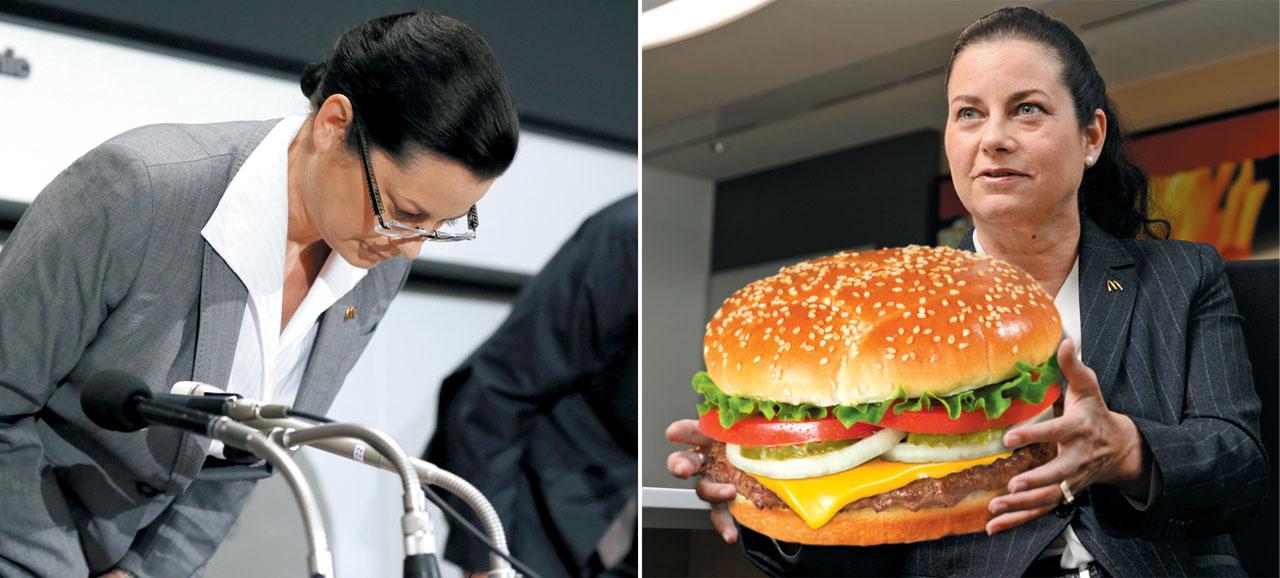 사라 카사노바 일본 맥도널드 CEO가 지난 2014년 7월 유통기한이 위조된 닭고기를 사용해 파문이 커지자 기자회견에서 머리를 숙여 사과하고 있다. 오른쪽 사진은 일본 맥도널드홀딩스 CEO가 된 카사노바.