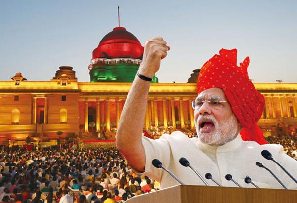 나렌드라 모디 인도 총리가 5월 30일 집권 2기를 시작했다. 뉴델리 대통령궁 앞에서 열린 총리 취임식에 몰린 인파. 빨간 터번을 두른 모디 사진은 2014년 8월 독립기념일 연설 모습. /블룸버그, AP연합