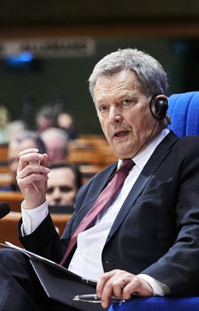 지난 1월 유럽의회에서 연설하는 사울리 니니스퇴 핀란드 대통령.