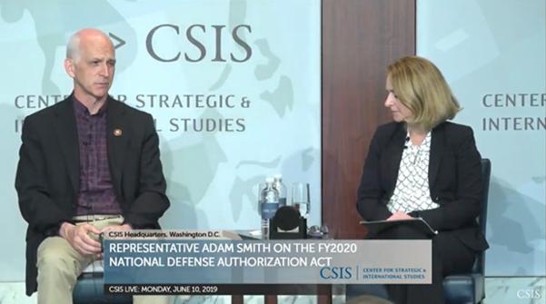 10일(현지시각) CSIS가 개최한 대담회에 참석한 애덤 스미스 하원군사위원장./RFA, CSIS 사이트 캡처